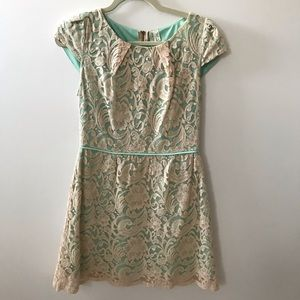 Pink Owl Mint and Cream Lace Dress